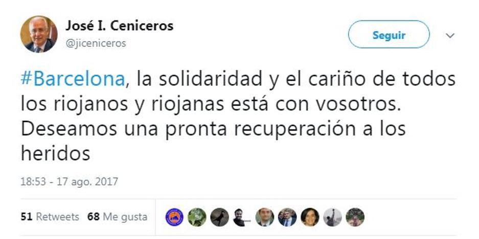 La Rioja manda su apoyo a Barcelona