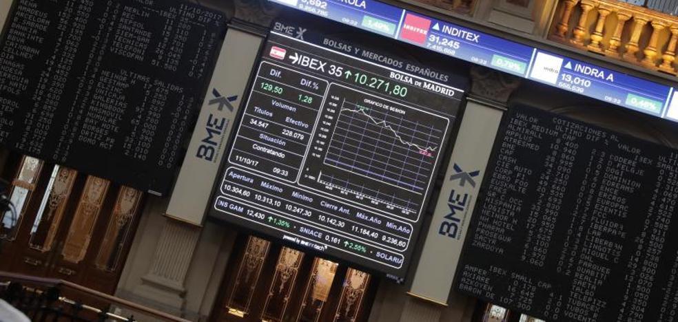 El Ibex-35 choca con los 10.300 y cierra por encima de los 10.200
