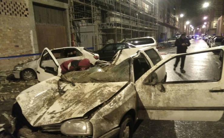 Derrumbe de una cornisa en Logroño