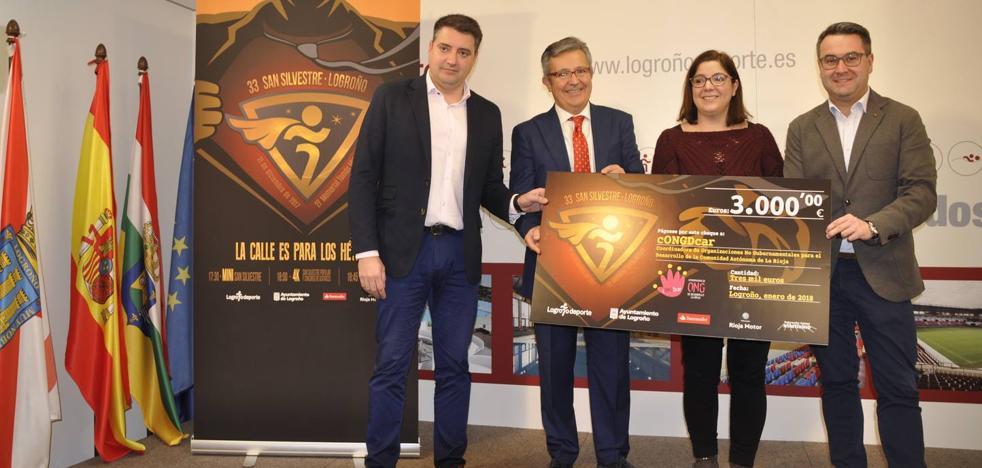 Logroño Deporte entrega 3.000 euros de la XXXIII San Silvestre a la Coordinadora ONG de Desarrollo