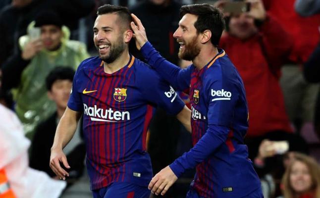 Messi y Alba bailan al Celta
