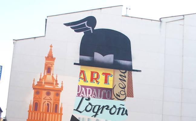 El mural 'Mercurio Alado' quiere homenajear al comercio local