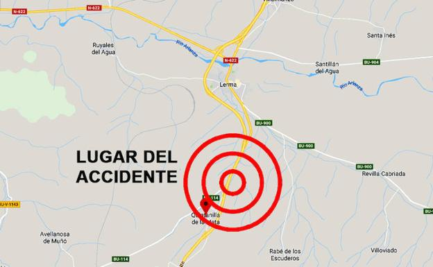 Lugar aproximado del accidente en la A1.