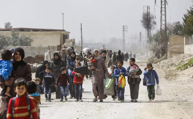Siria entra en su octavo año de guerra con el éxodo de civiles de Guta y Afrín