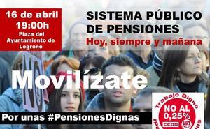 Concentración en defensa de las pensiones el próximo lunes 16