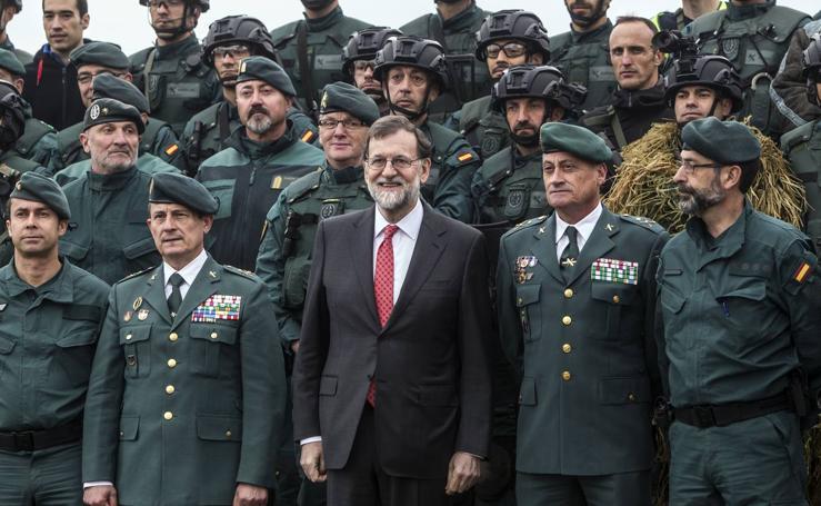 Rajoy presencia un simulacro de operación antiyihadista en Logroño