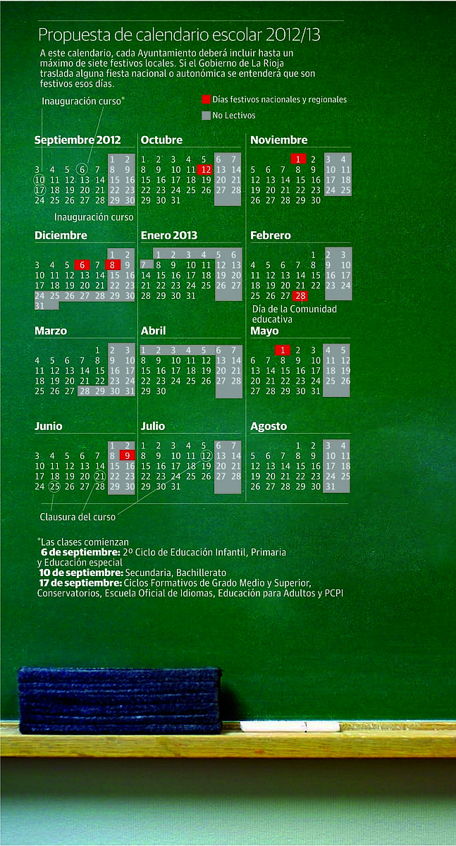 As� ser� el calendario escolar 2012/2013