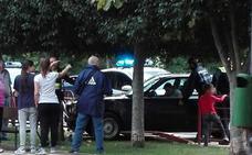"""""""Un trompo"""" y contra la valla de un parque en Yagüe"""