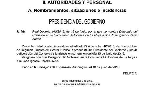 El Rey nombra delegado a Pérez Saénz... en Washington