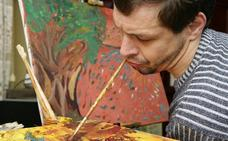 Pintura con boca, pie y corazón