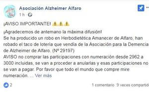 Roban un taco de Lotería de la Asociación del Alzhéimer de Alfaro