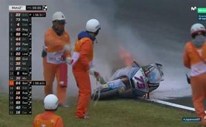 Espeluznante caída de Álex Márquez en el circuito de Motegi