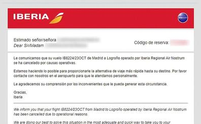 Iberia canceló ayer el vuelo Madrid-Logroño por «causas operativas»
