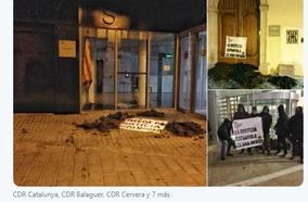 Los CDR arrojan estiércol en las puertas de los juzgados de Lleida, Cervera y Balaguer