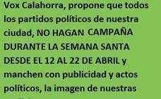 Vox Calahorra pide a los partidos políticos que no «ensucien con publicidad» los actos de Semana Santa