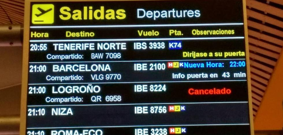 Cancelado por tercera vez en cuatro días el vuelo Madrid-Agoncillo