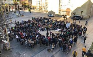 Varios cientos de personas se concentran contra el cambio climático en la plaza del Mercado