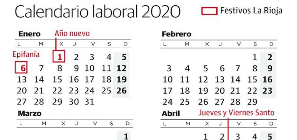 Calendario 2020 Laboral Madrid.Calendario Laboral La Rioja