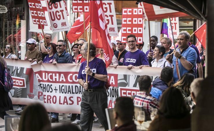 Día del Trabajo: UGT y CCOO presionan en las calles de Logroño por un gobierno de izquierdas