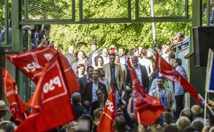 Sánchez en su mitin en Logroño para pedir el voto para Andreu y Pablo Hermoso