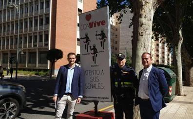 Tres tótems con pautas de respeto del conductor al ciclista rotarán por Logroño