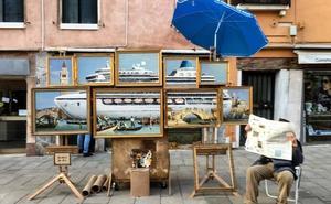 Banksy denuncia el paso de cruceros en Venecia con una representación artística