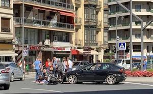 Herida una motorista en una colisión con un turismo en la rotonda de Gran Vía con Murrieta en Logroño