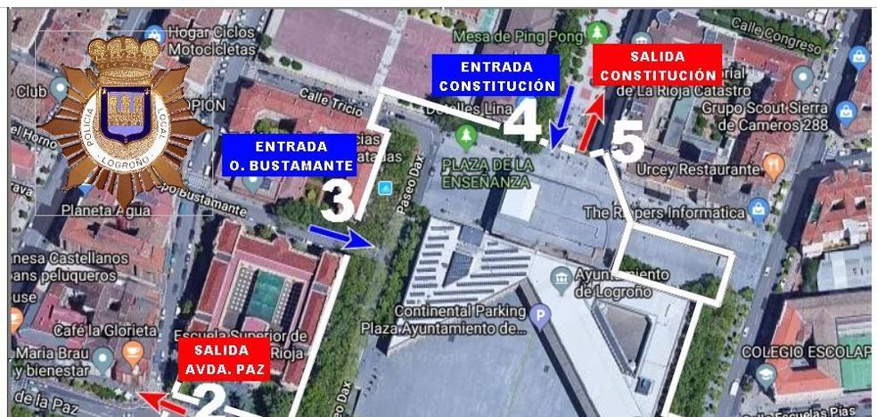 Cómo entrar y salir de la plaza del Ayuntamiento durante el disparo del cohete vespertino de San Mateo