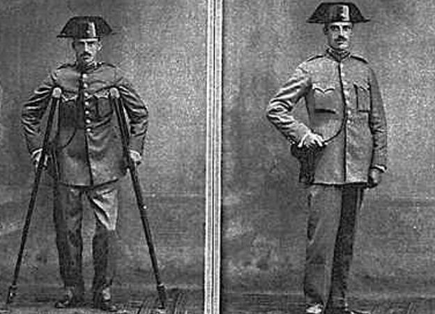 Curación milagrosa' –antes y después– de un guardia civil. Arriba, miles de personas se agolpan en San Sebastián para ver al doctor Fernando Asuero (1929).