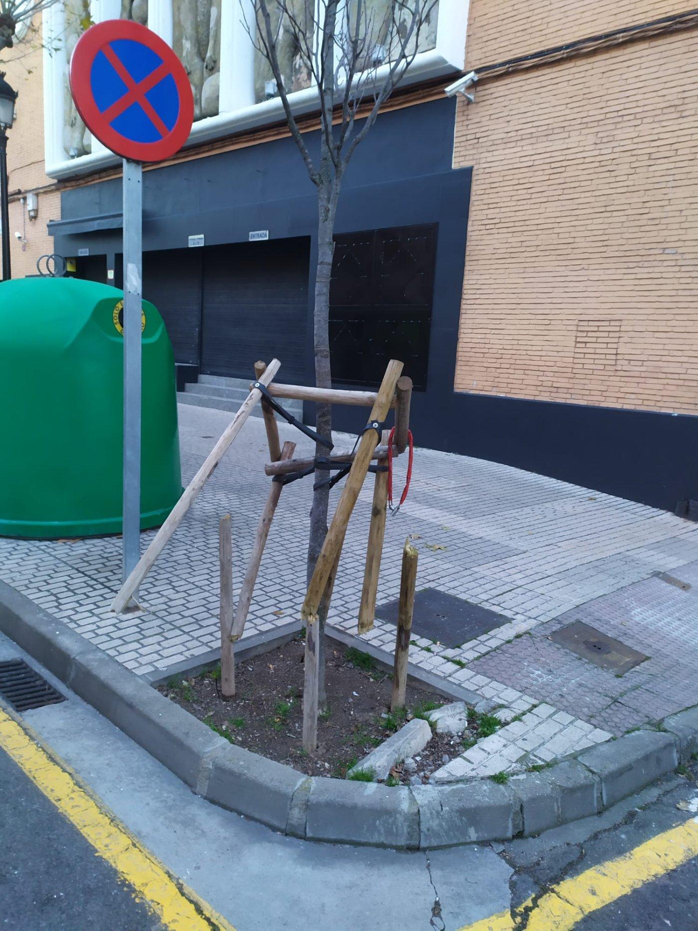 La Guindilla: estructura destrozada en un árbol de avenida de Navarra