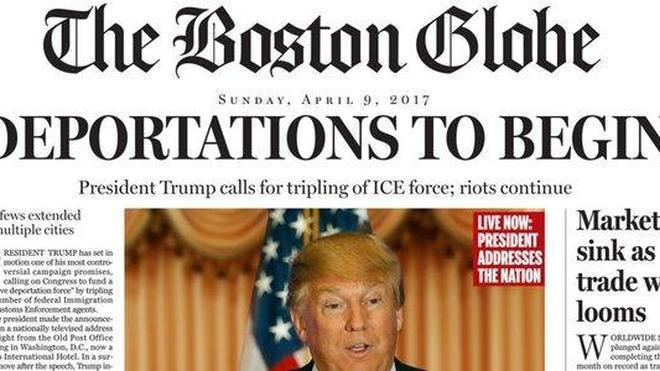 The Boston Globe sitúa a Trump como presidente de EE UU en una portada satírica