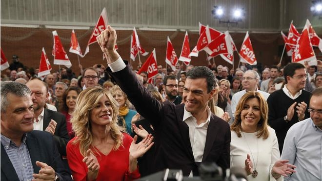 Puig y Madina, grandes ausentes en el acto de unidad en apoyo a Sánchez