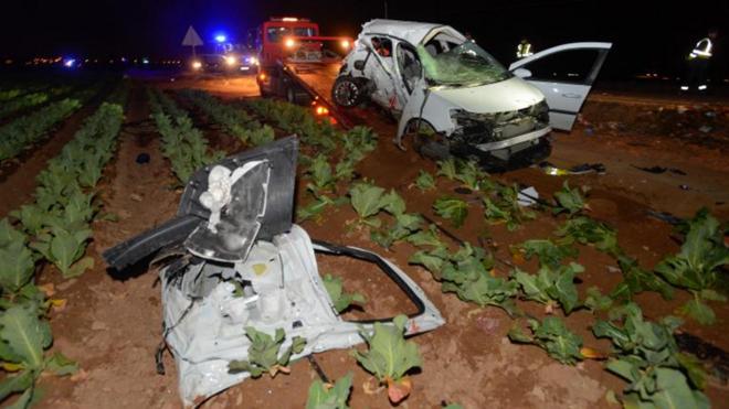 Mueren cinco jóvenes en una colisión de dos coches en Cartagena